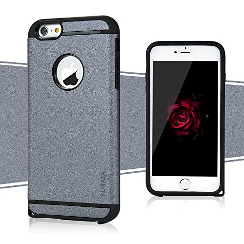 6s Case, iPhone 6&6s Case - TURATA [Heavy Duty] Dual Layer Air Cushion Hard Plastic TPU Protective Case Bumper with Dust Plug Design for iPhone 6&6s (4.7 inch) - Gray