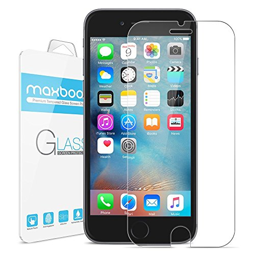 iPhone 6 Screen Protector, Maxboost® [Tempered Glass] 0.2mm Ballistic Glass iPhone 6 Glass Screen Protector Work with iPhone 6 and Protective Case [Lifetime Warranty]