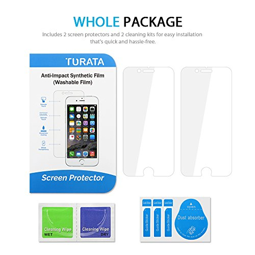 TURATA Ultra-Thin Crystal Clear Screen Protector for iPhone 6s Plus/6 Plus - 2 Pack