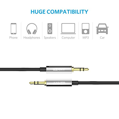 Anker 3.5mm Premium Auxiliary Audio Cable (4ft / 1.2m) AUX Cable for Headphones, iPods, iPhones, iPads, Home / Car Stereos and More (Black)