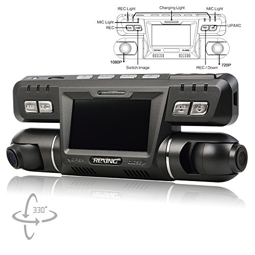 REXING G600 Dash Cam Dual Front and Rear with 265 Degree Angle 1080P HD Night Vision Car Vehicle Dashboard Camera